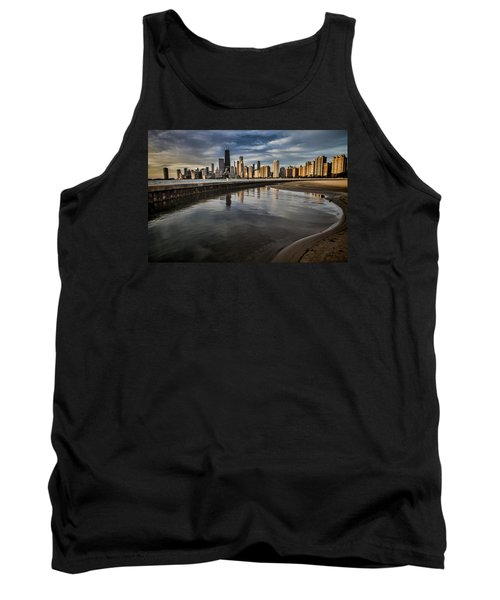 Chicago Beach And Skyline With A Person For Scale Tank Top