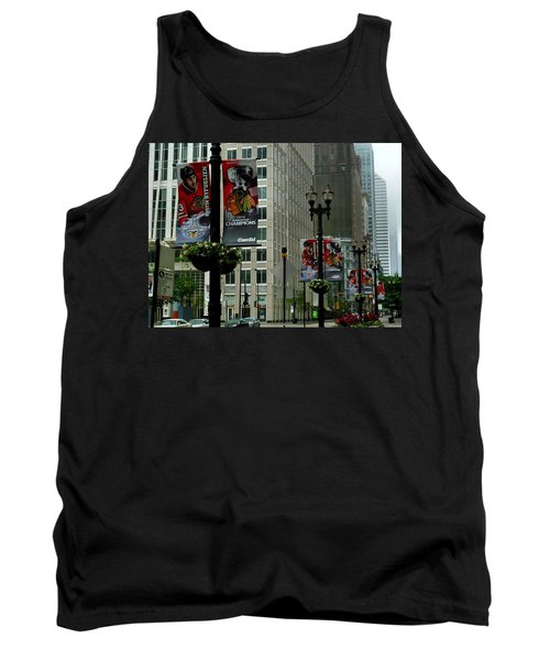 Chicago Blackhawk Flags Tank Top by Ely Arsha
