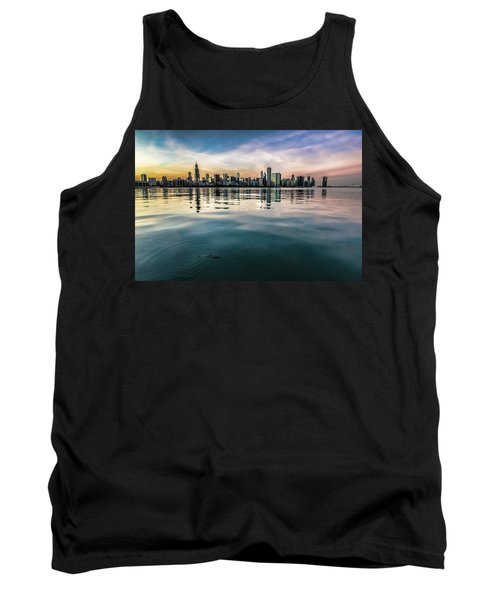 Chicago Skyline And Fish At Dusk Tank Top