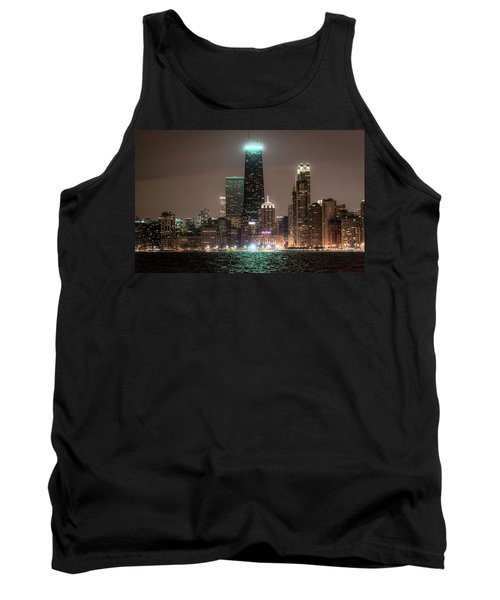 Chicago Skyline At Night North Ave Beach V2 Dsc1732 Tank Top by Raymond Kunst