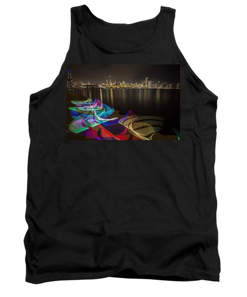 Chicago Skyline With Pixel Stick Painting Tank Top