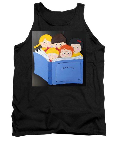 Children Reading Book Tank Top by Brenda Bonfield