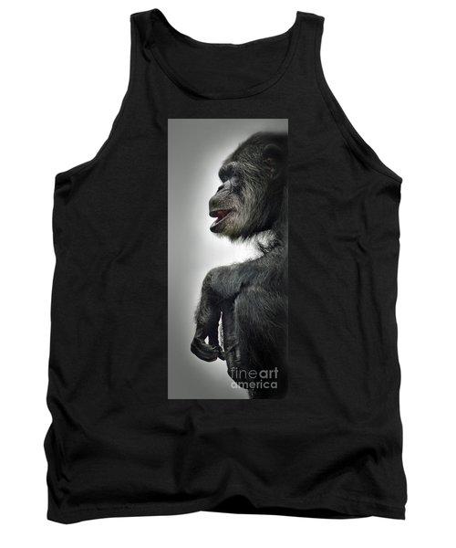 Chimpanzee Profile Vignetee Effect Tank Top by Jim Fitzpatrick