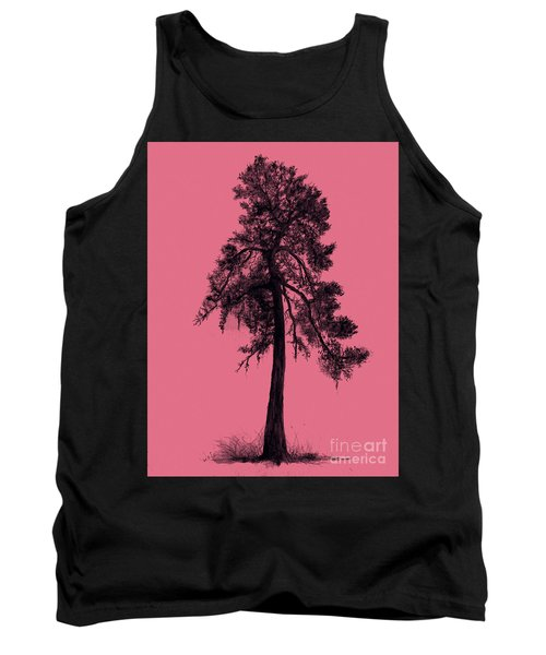 Tank Top featuring the drawing Chinese Pine Tree by Maja Sokolowska