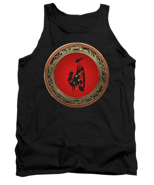 Chinese Zodiac - Year Of The Rooster On Black Velvet Tank Top