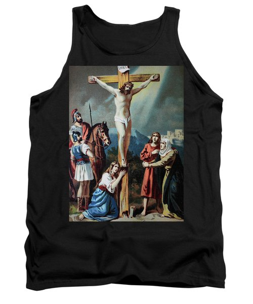 Christ On The Cross, Chromolithograph From A Home Bible, 1870 Tank Top