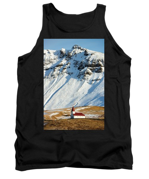 Tank Top featuring the photograph Church And Mountains In Winter Vik Iceland by Matthias Hauser