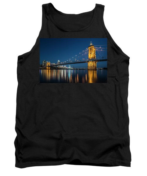 Cincinnati's Roebling Suspension Bridge At Dusk Tank Top