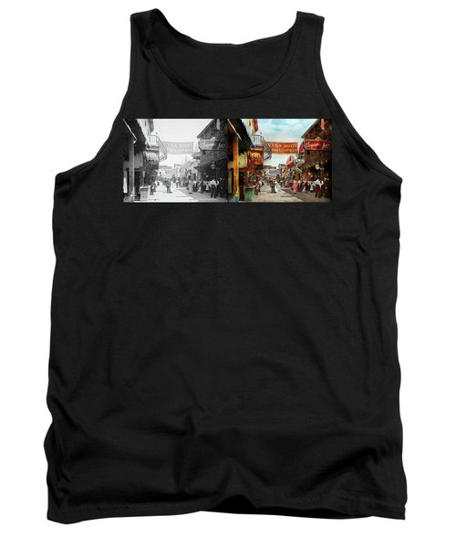 Tank Top featuring the photograph City - Coney Island Ny - Bowery Beer 1903 - Side By Side by Mike Savad