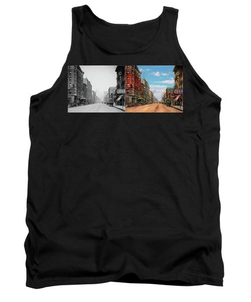 Tank Top featuring the photograph City - Memphis Tn - Main Street Mall 1909 - Side By Side by Mike Savad