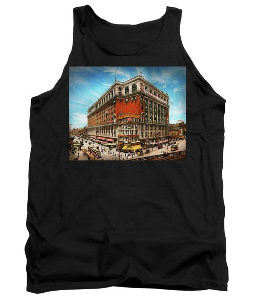Tank Top featuring the photograph City - Ny New York - The Nation's Largest Dept Store 1908 by Mike Savad