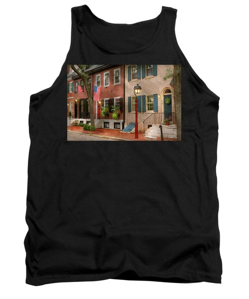 Tank Top featuring the photograph City - Pa Philadelphia - American Townhouse by Mike Savad