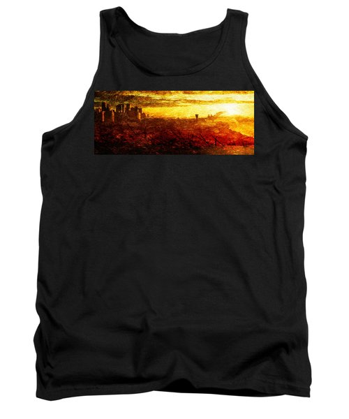 Tank Top featuring the digital art Cityscape Sunset by Andrea Barbieri