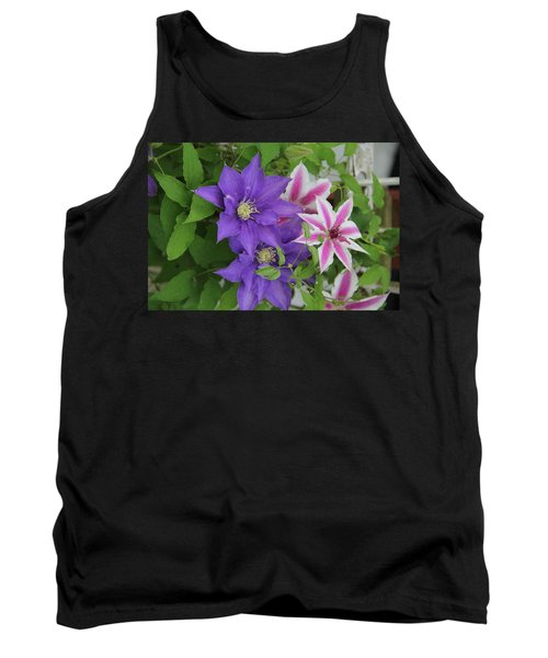 Clematis Purple And Pink White Tank Top