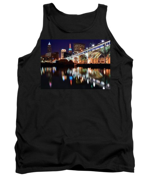 Cleveland Ohio Skyline Tank Top by Frozen in Time Fine Art Photography