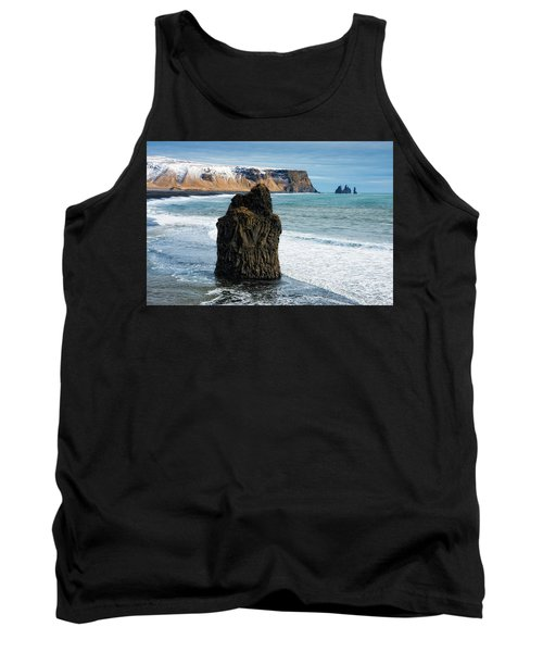 Tank Top featuring the photograph Cliffs And Ocean In Iceland Reynisfjara by Matthias Hauser