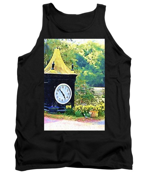 Tank Top featuring the photograph Clock Tower In The Garden by Donna Bentley