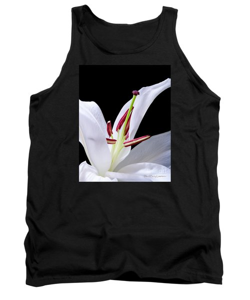 Tank Top featuring the photograph Close-up Photograph Of A White Oriental  Lily by David Perry Lawrence