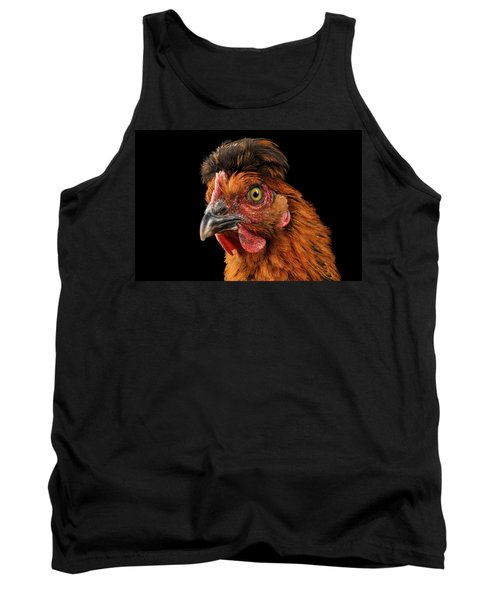 Closeup Ginger Chicken Isolated On Black Background In Profile View Tank Top