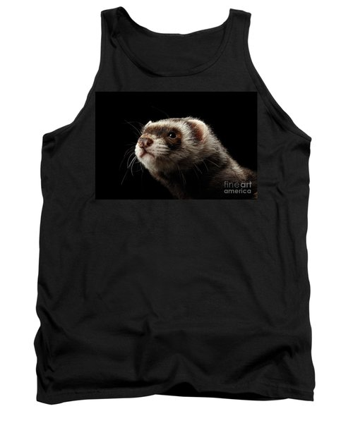 Closeup Portrait Of Funny Ferret Looking At The Camera Isolated On Black Background, Front View Tank Top