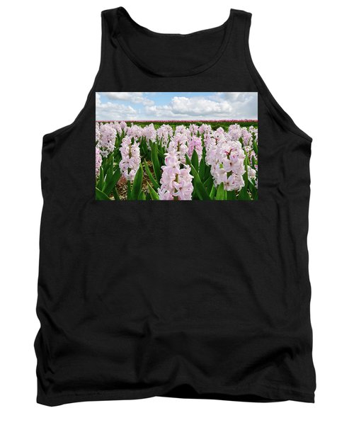 Clouds Over The Pink Hyacinth Field Tank Top by Mihaela Pater