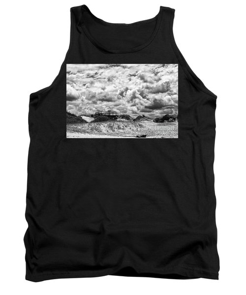 Tank Top featuring the photograph Cloudy Beach Black And White By Kaye Menner by Kaye Menner