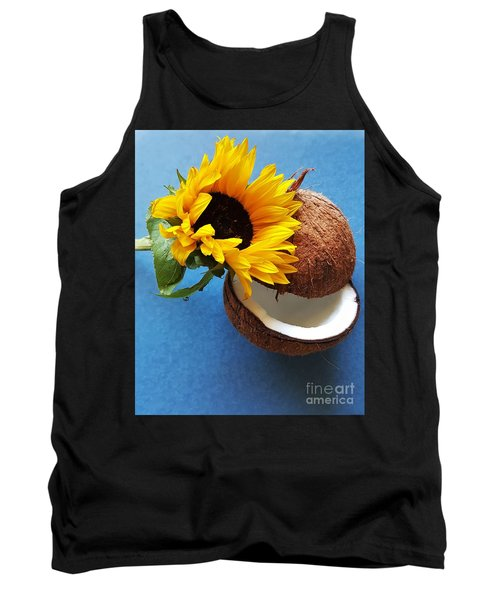 Coconut And Sunflower Harmony Tank Top by Jasna Gopic