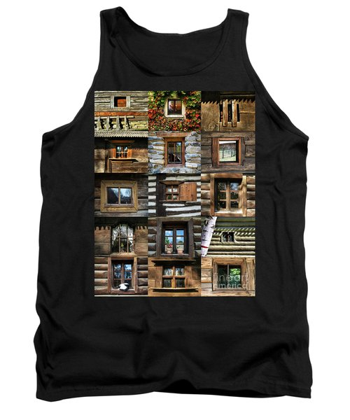 Collage From Handmade Traditional Wooden  Windows In Village Museum Bucharest Tank Top