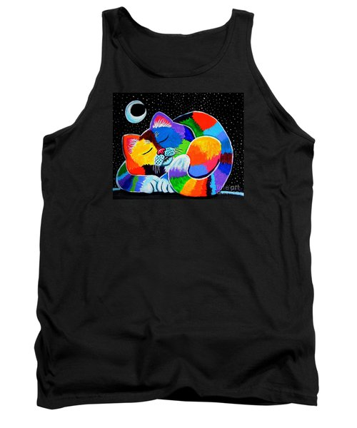 Colorful Cat In The Moonlight Tank Top by Nick Gustafson