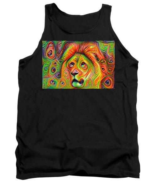 Colorful Crazy Lion Deep Dream Tank Top