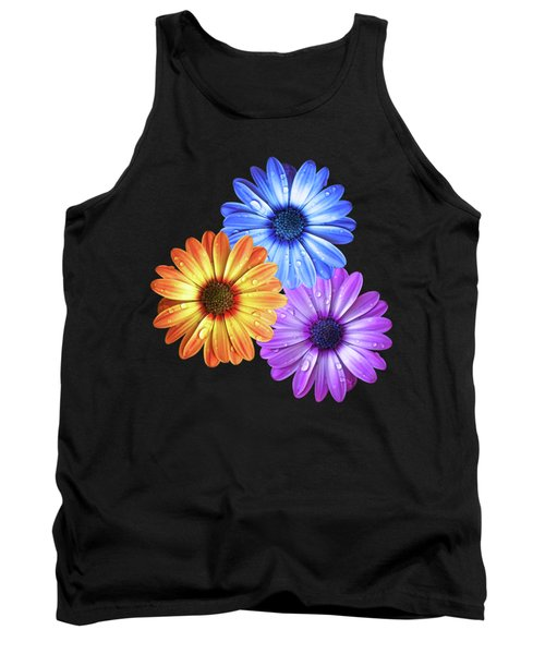 Colorful Daisies With Water Drops On Black Tank Top