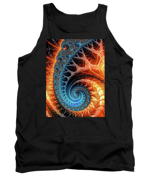 Colorful Luxe Fractal Spiral Turquoise Brown Orange Tank Top by Matthias Hauser