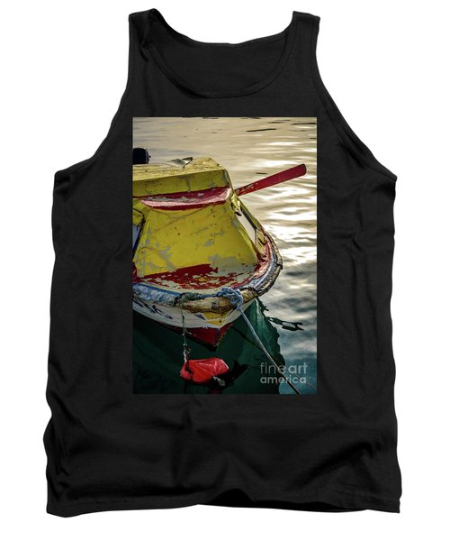 Colorful Old Red And Yellow Boat During Golden Hour In Croatia Tank Top