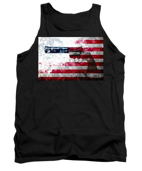 Colt Python 357 Mag On American Flag Tank Top by M L C