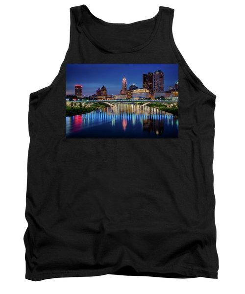 Tank Top featuring the photograph Columbus Ohio Skyline At Night by Adam Romanowicz