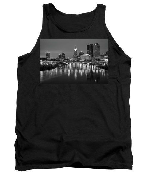 Tank Top featuring the photograph Columbus Ohio Skyline At Night Black And White by Adam Romanowicz