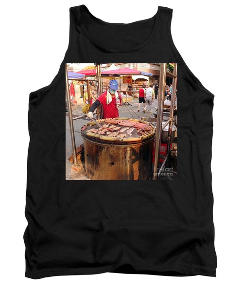 Tank Top featuring the photograph Cooking Meat And Eggs On A Huge Grill by Yali Shi