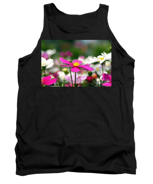 Cosmos Flowers Tank Top by Denise Pohl
