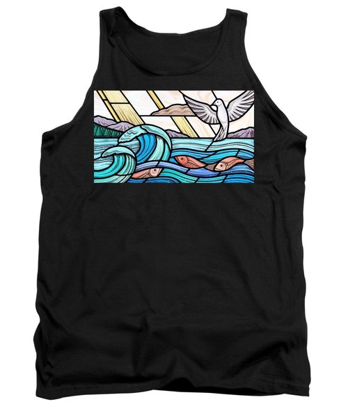 Tank Top featuring the glass art Creation Of The Sea And Sky by Gilroy Stained Glass