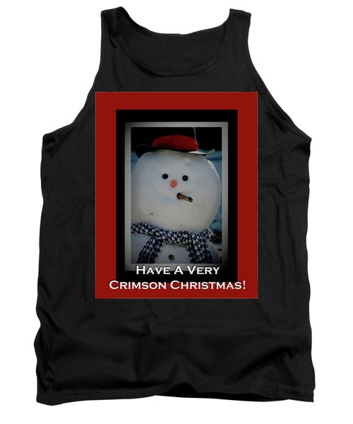 Crimson Christmas Snowman Tank Top