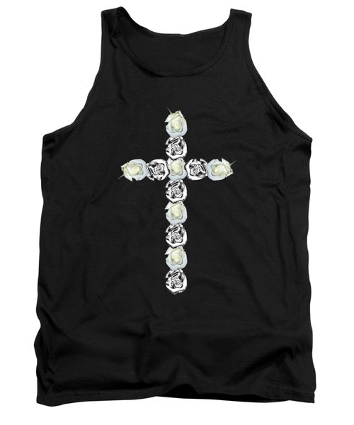 Cross Of Silver And White Roses Tank Top by Rose Santuci-Sofranko