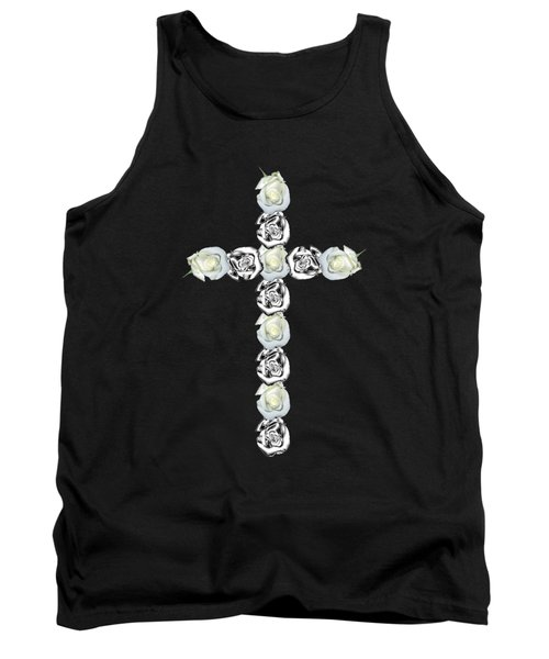 Cross Of Silver And White Roses Tank Top
