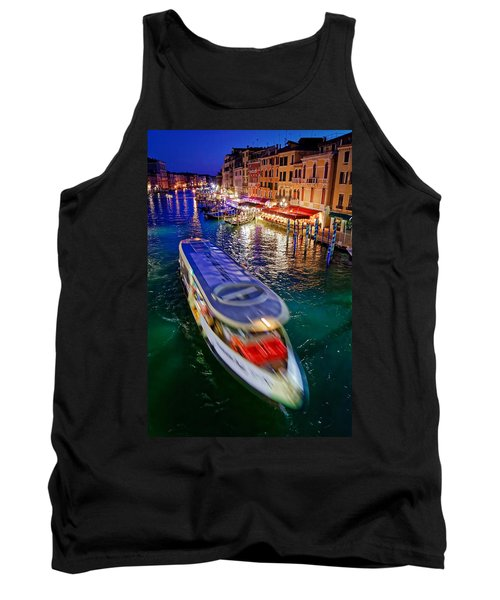 Vaporetto Crossing The Grand Canal At Night In Venice, Italy Tank Top