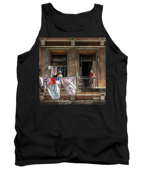 Tank Top featuring the photograph Cuban Women Hanging Laundry In Havana Cuba by Charles Harden