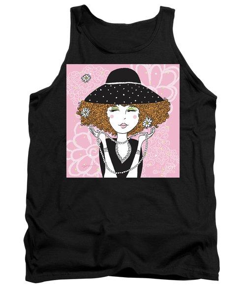 Curly Girl In Polka Dots Tank Top