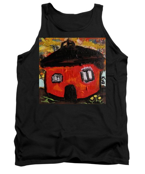 Tank Top featuring the painting Dandelions By Red Barn By Mcw by Mary Carol Williams