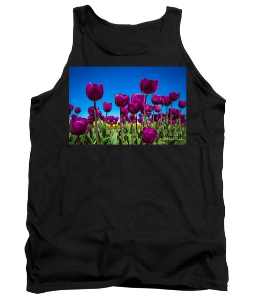Dark Purple Tulips Tank Top by John Roberts