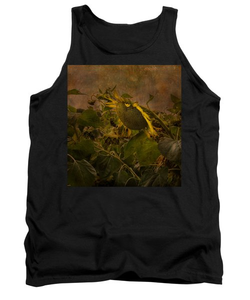 Dark Textured Sunflower Tank Top