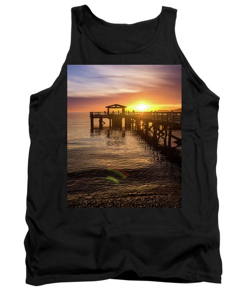Davis Bay Pier Sunset 4 Tank Top