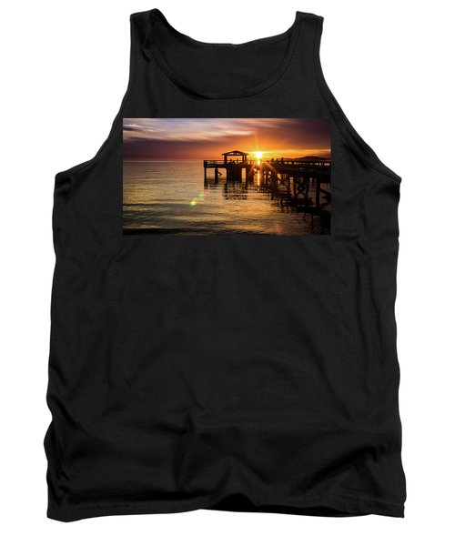 Davis Bay Pier Sunset 5 Tank Top